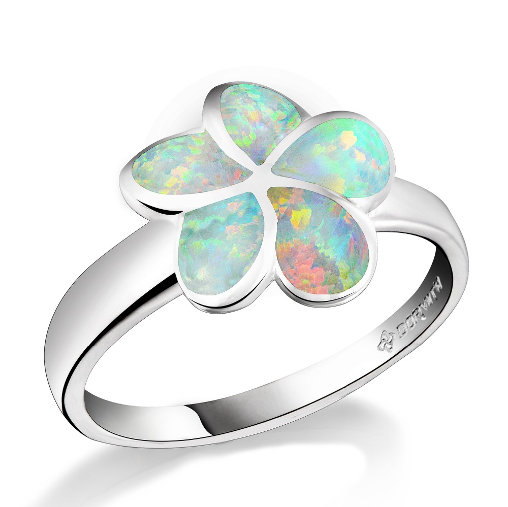 DORMITH real 925 sterling silver rings created White Red fire five petals flowers Opal Jewelry Rings for women jewelry rings in Rings from Jewelry Accessories