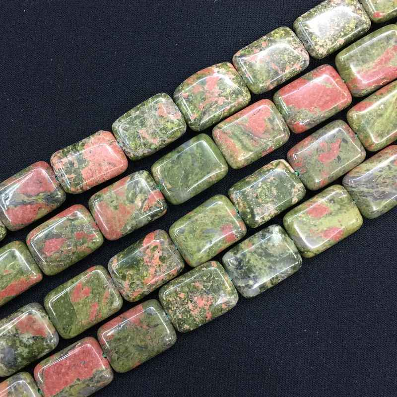Natural Stone Beads Spacer Rectangle Flat Puff DIY Loose Bead 13x18mm For Making Earrings necklaces bracelets Unakite Howlit
