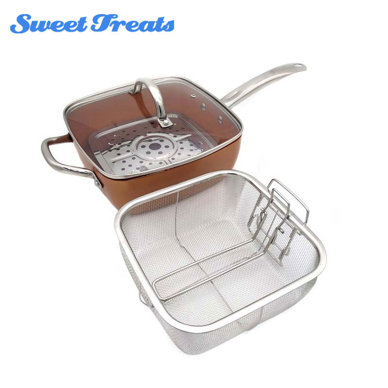 Corbeille à frire avec couvercle en verre à Induction, casserole carrée en cuivre, poignée en acier inoxydable, support à vapeur, 4 pièces, 9.5 pouces