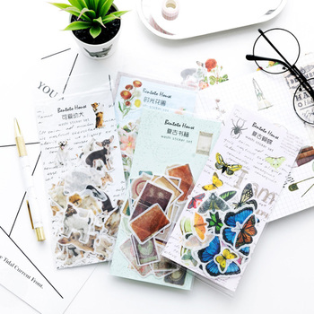 1packs/lot Animal And Plant Retro Objects Sticker Pack Paper Sticker Decoration Diy Ablum Diary Scrapbooking Label Stickers 20packs lot forest animal festival mini paper sticker decoration diy ablum diary scrapbooking label sticker 45 pieces into