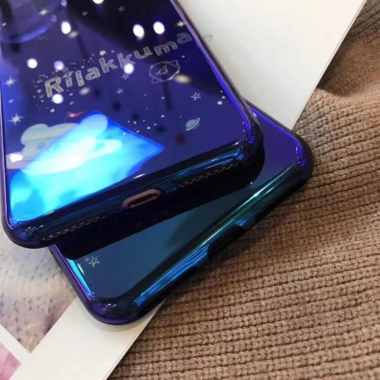 Telefoon Gevallen voor IPhone XS MAX XR X Cartoon Laser Hemel Beer Blu-ray Soft Cover voor IPhone 7 8 Plus voor IPhone 6 6 S Plus