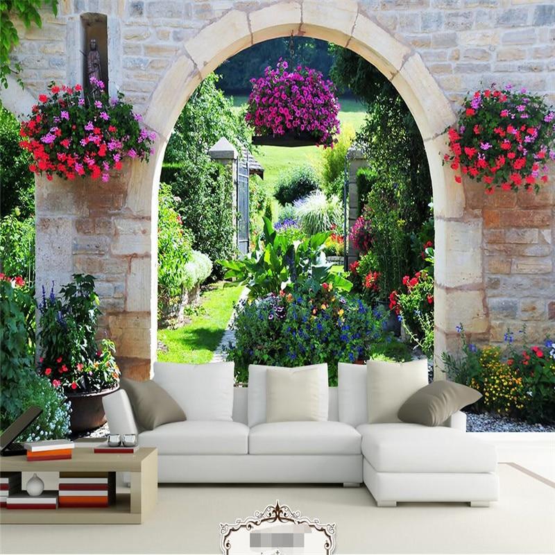 Customize Size Mural Wallpaper Background European Garden Flowers Restaurant Decor Wall Covering ...
