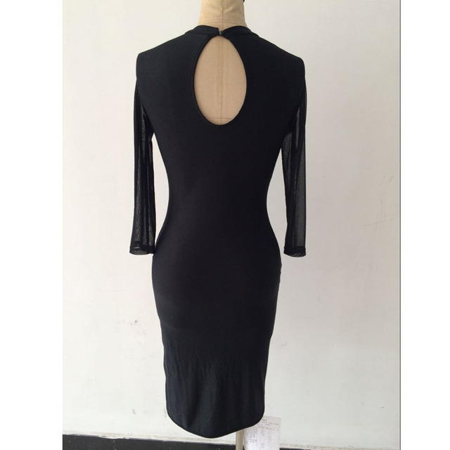 Black Sheer Mesh Sequined Bodycon Dress