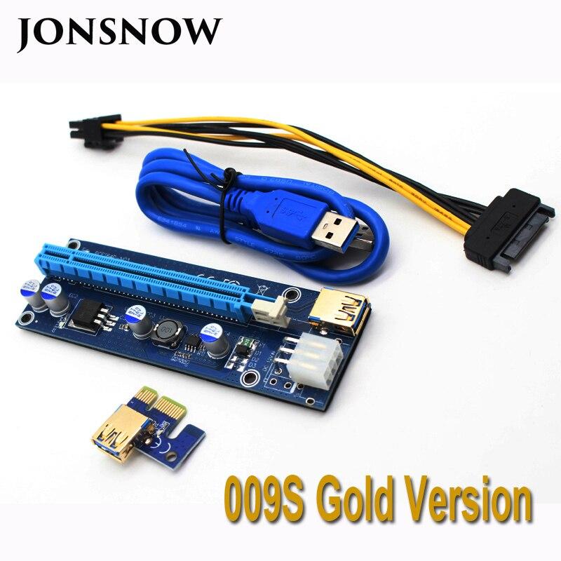 JONSNOW 009 S PIN PCIE RISER 16X per BTC mining con 2 Led Express Card Cavo di Alimentazione Sata e 60 cm Oro USB 3.0 Cavo di Qualità