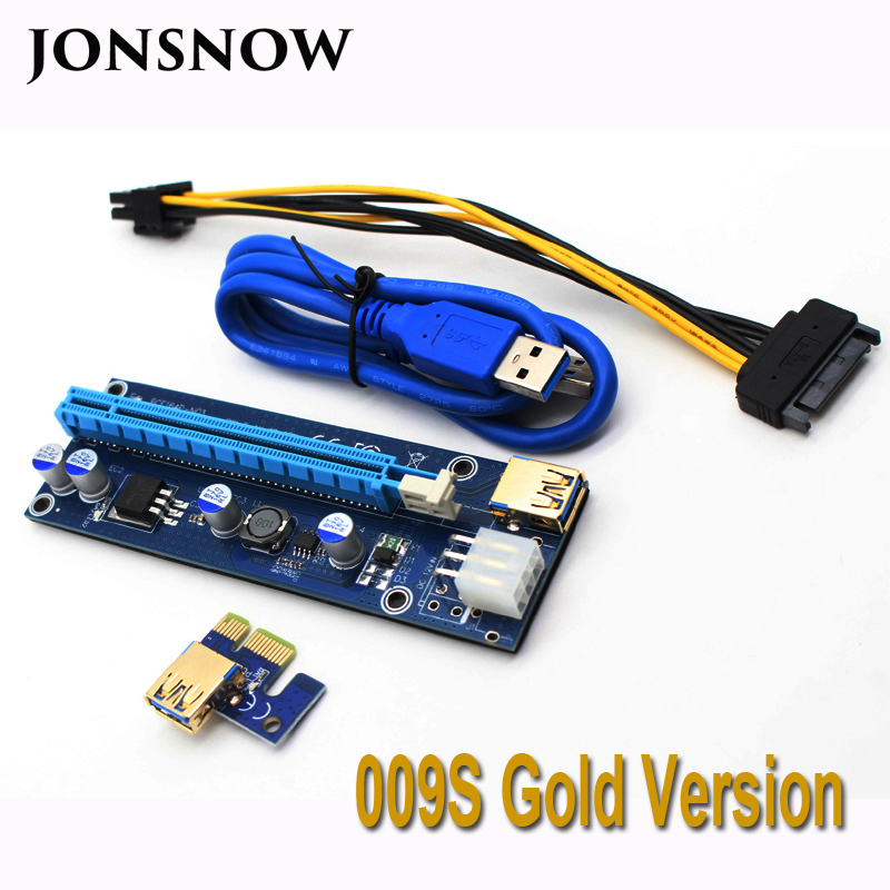 JONSNOW 009S PCIE RISER 6PIN 16X for BTC mining with 2 LEDs Express Card Sata Power Cable and 60cm Gold USB 3.0 Quality Cable