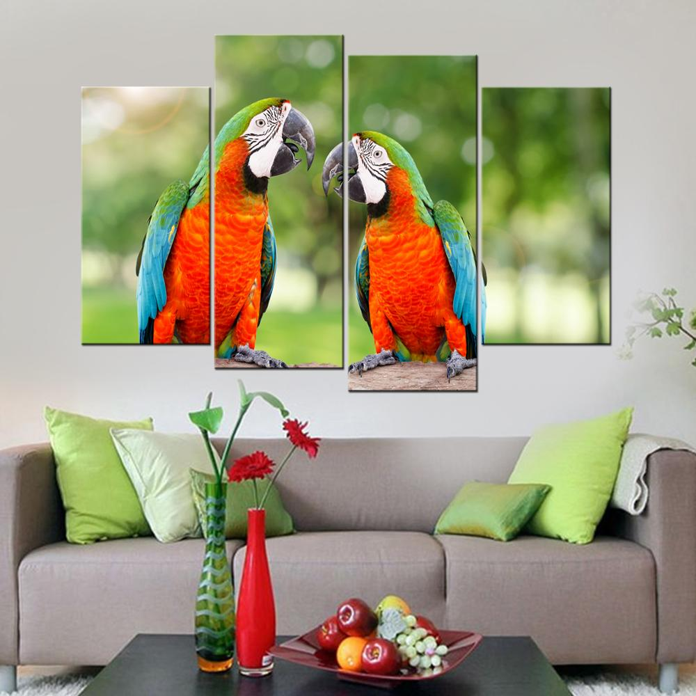 Drop Shipping Parrot Wall Picture For Living Room Home Decor Canvas Painting Bird Animal Wall