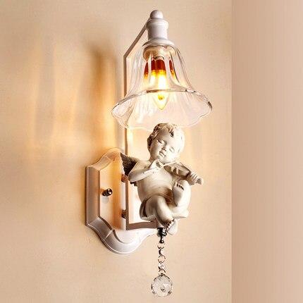 Kreativní pastorální čiré sklo bílý anděl křišťál E14 kované železné kovové nástěnné svítidlo nástěnné nástěnné svítidlo pro uličku Foyer Abajur Lamparas