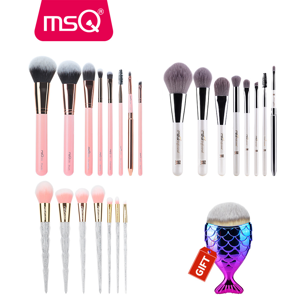 Buy 3 Get 1 Gift MSQ 3Sets Foundation Powder Eyeshadow Makeup Brush Set Concealer Powder Make Up Brushes With 1pc Mermaid Brush 11pcs diamond rose gold makeup brush set mermaid fishtail shaped foundation powder cosmetics brushes rainbow eyeshadow brush kit