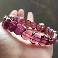 Натуральная натуральный арбузный турмалин кристалл прямоугольник Красные Каменные Бусины Для женщин браслет AAAAA 12*5 мм