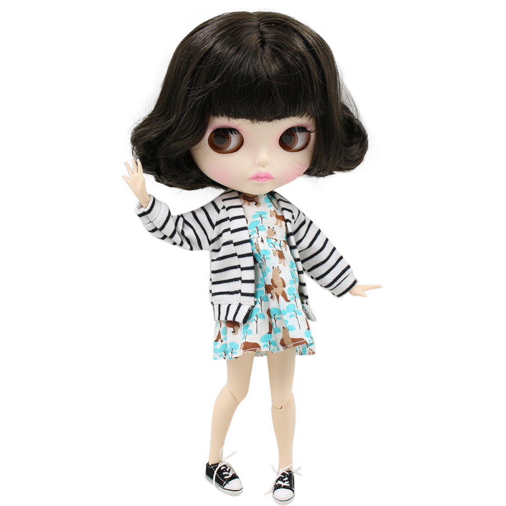 ICY Nude Blyth Doll For Series No BL950 Black hair Carved lips Matte face Joint body