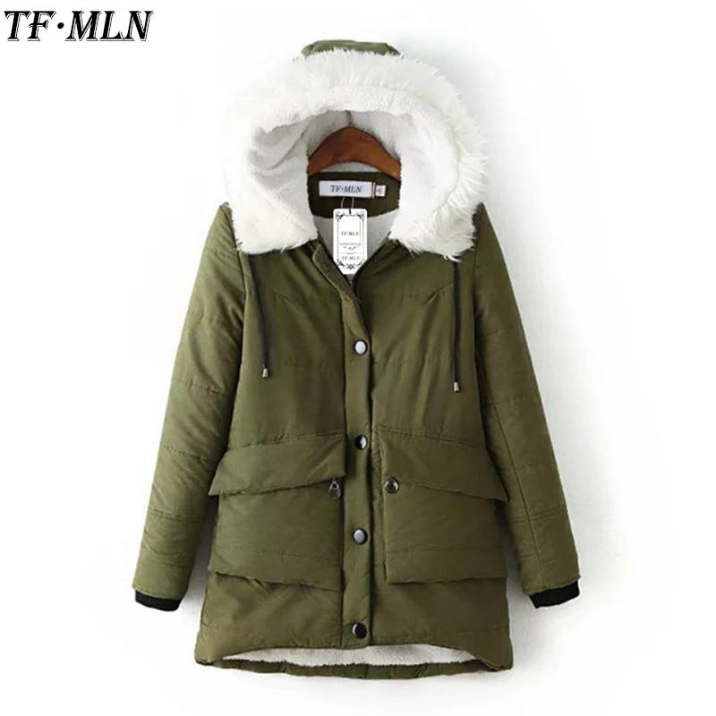 Plus Size Hot Parkas Women Coats Fashion Autumn Warm Winter Jackets Women Fur Collar Long Parka  Hoodies Casual Cotton Outwear