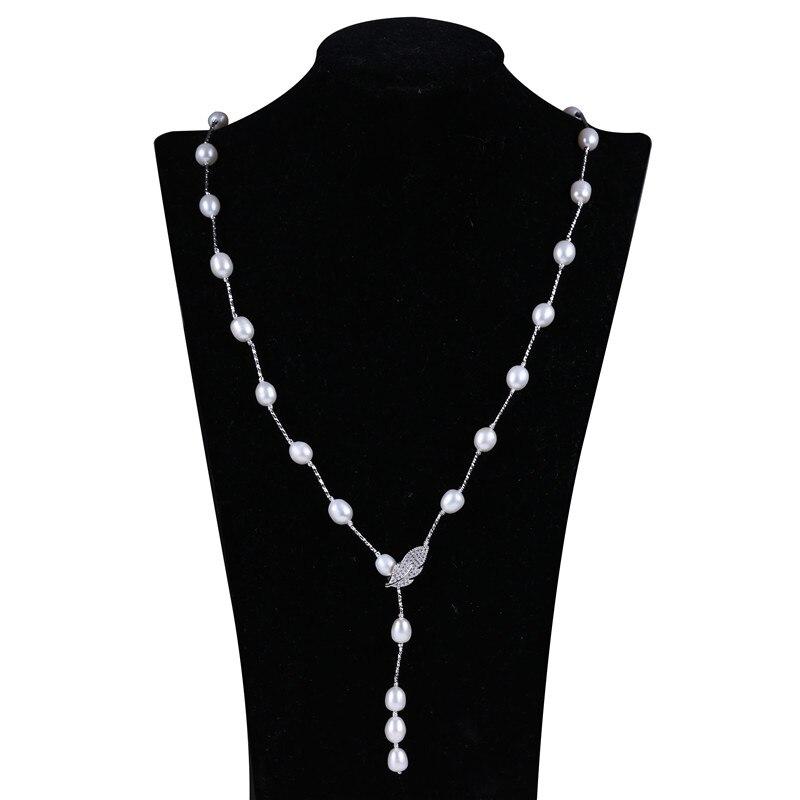 Collier de perles d'eau douce de riz fantaisie 8-9mm collier de perles multicolores conception de fermoir en forme de feuille et de fleur