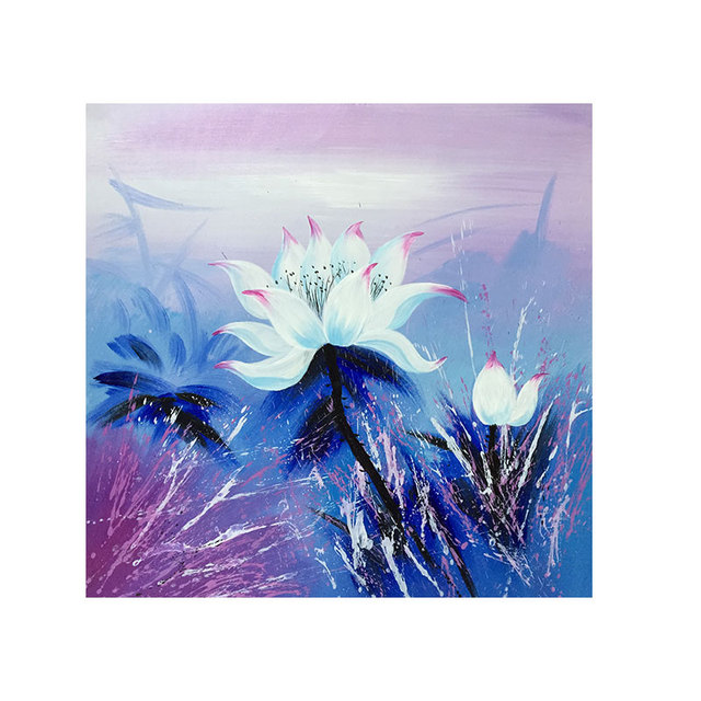 Abstract Painting Modern Art Purple Lotus Flower Drawing On The Wall Living Room Canvas Picture Home