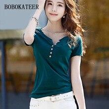 BOBOKATEER short sleeve t shirt women clothes summer tops camiseta mujer casual cotton tshirts woman t-shirt tee shirt femme