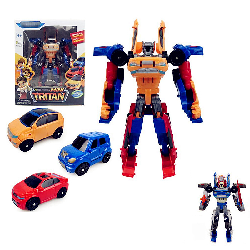 Three In One DIY Tritan Tobot Robot 3 Korean Cartoon Deformation Car Action  Mini Racing Car In 1 Russia Toys Kids Birthday Gift