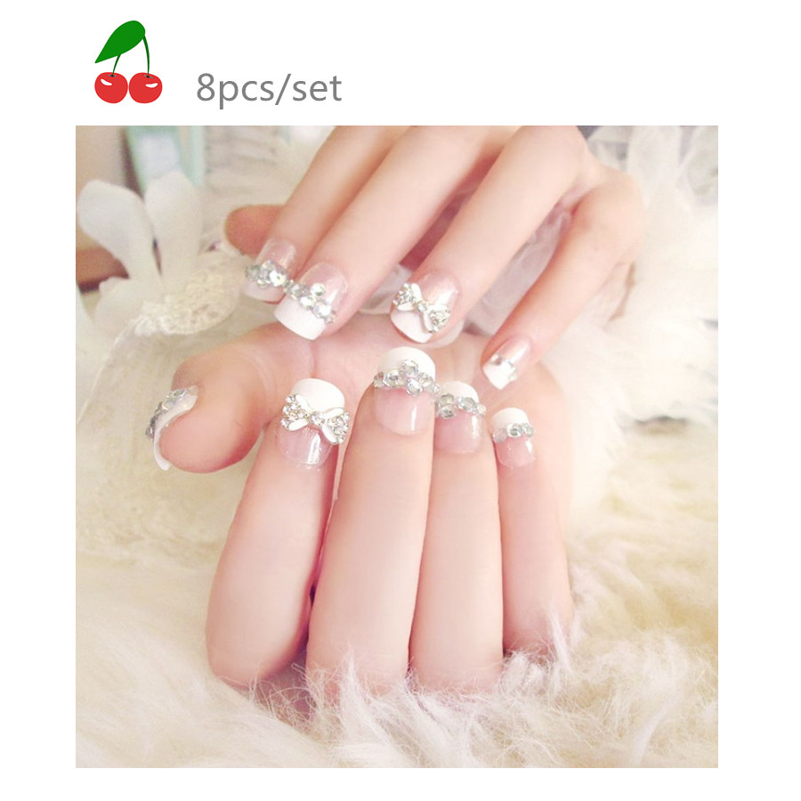 Бантом белый французский пункты короткие невесты ногтей, Nail Glue