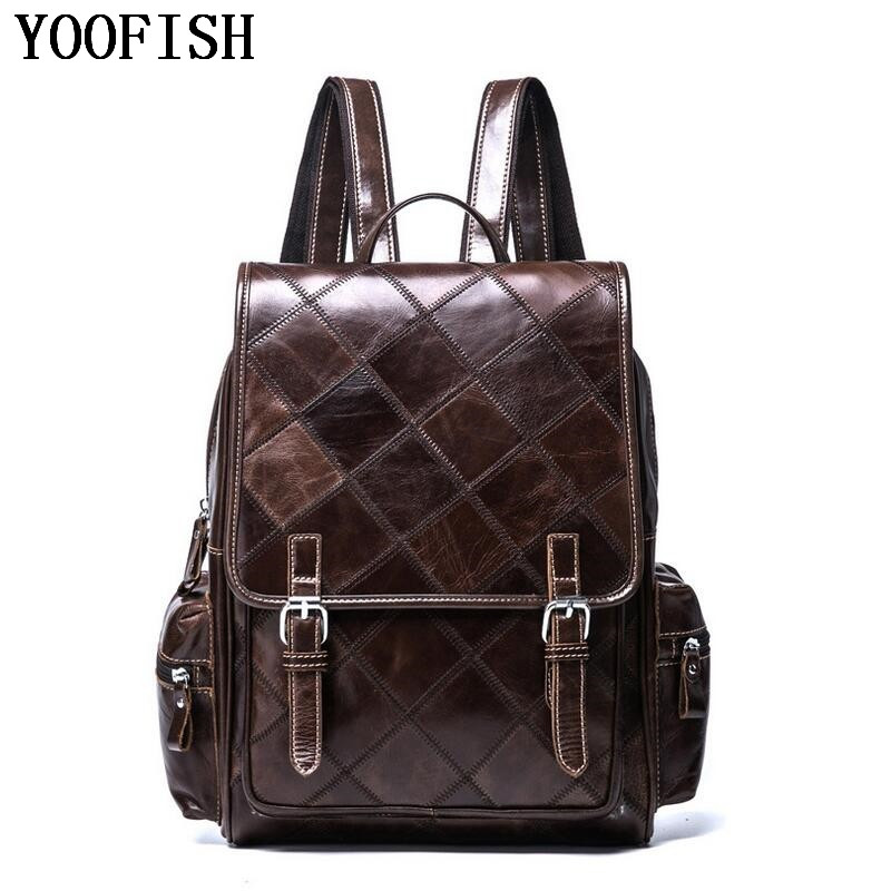 YOOFISH Retro Style Charming Head Layer Cow Leather Teenage Boys's Men 's Laptop Bag Backpacks For Men LJ-920 brand rushed 2018 head layer vintage cow leather teenage womens daily school laptop brown solid travel bag preppy backpacks