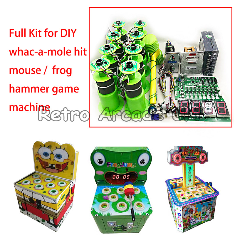 Full kit with Motherboard 8 hitting heads for kids coin operated arcade games whac a mole