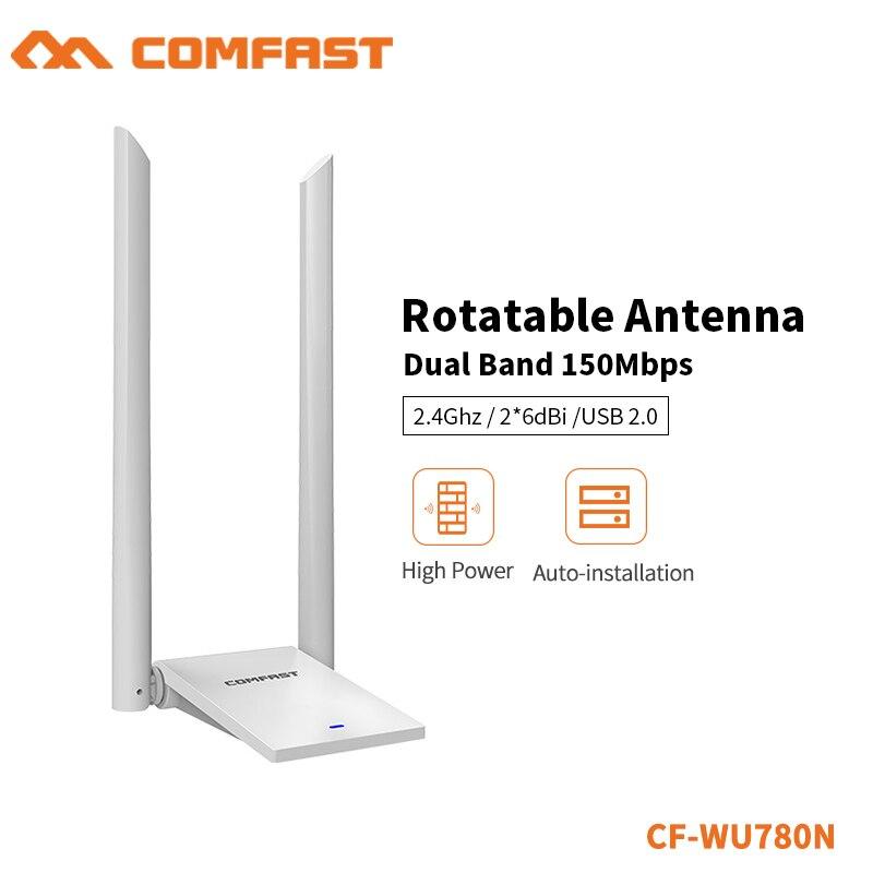 High Power Dual Wifi Antenna 6dB 150Mbps USB WiFi Adapter Wireless Network Card Wireless WiFi Receiver Adaptador WiFi CF-WU780N