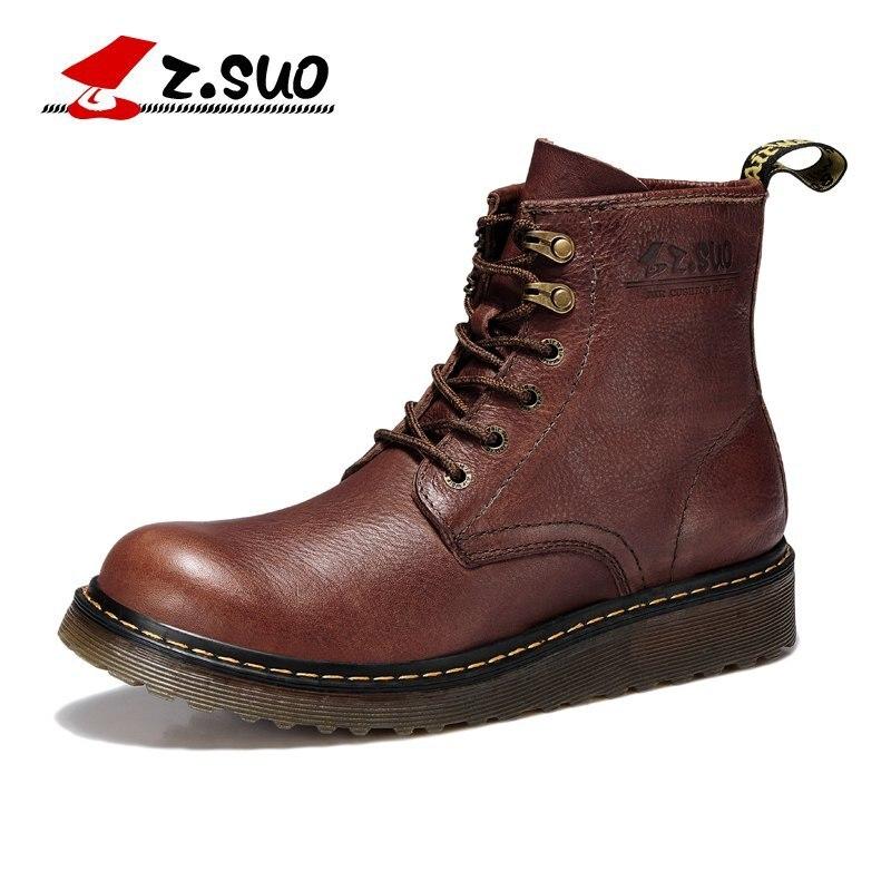 Z. suo/мода осень/зима Для мужчин обувь из натуральной кожи ботинки на шнуровке дышащая/удобные Британский Для мужчин; повседневные ботинки ...