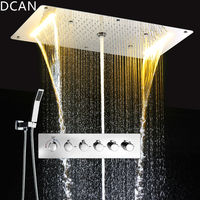 DCAN Multifunction Bathroom Shower Sets Luxury SUS304 Thermostatic Mixer Waterfall Rainfall SPA Ceiling Big Rain Led Shower Set