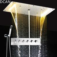 DCAN Multifunction Bathroom Shower Sets Luxury SUS304 Thermostatic Mixer Waterfall Rainfall SPA Ceiling Big Rain Led Shower Set