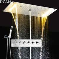 DCAN multifonction salle de bains douche ensembles de luxe SUS304 thermostatique mélangeur cascade pluie SPA plafond grande pluie Led ensemble de douche