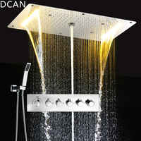 DCAN multifunción juegos de ducha de baño de lujo SUS304 mezclador termostático cascada lluvia SPA techo gran lluvia Led juego de Ducha