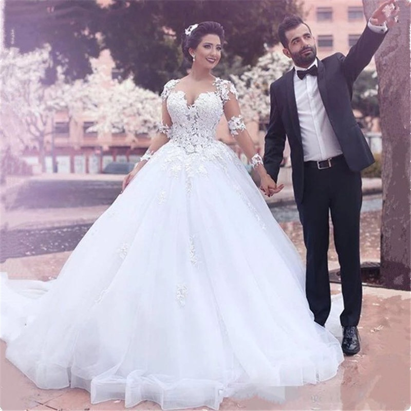Sweetheart Neck Tulle Long Sleeve Wedding Dresses Lace Appliques Bridal Gowns Sweep Train Vestido De Noiva 2019