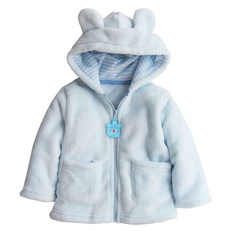 Carter Style Baby Boy Girl Winter Warm Hooded Hoodies Coat Cute Thick Tops Children Bear Coral Velvet Outerwear Girls Clothes