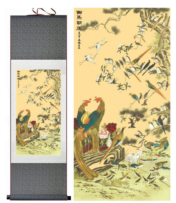 ᐅbirds and flower painting home office decoration chinese scroll