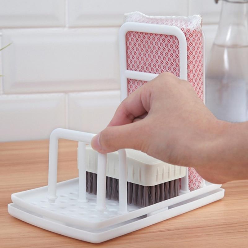 Image 4 - Multi Function Kitchen Desktop Rag Rack Dish Cloth Drain Free Punching Sponge Soap Shelf Storage-in Racks & Holders from Home & Garden