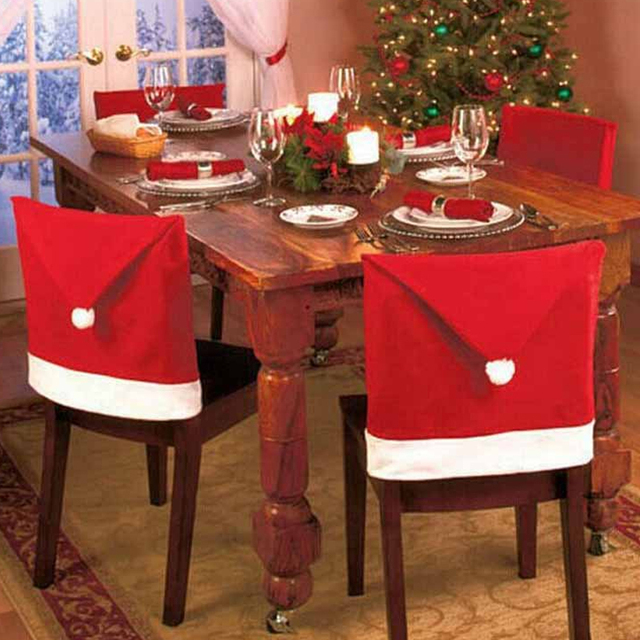 santa chair cover new year christmas dinner decorations party red hat back home nonwoven old man