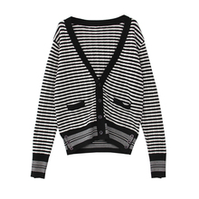 women s high quality wool sweater autumn winter runway fashion loose oversize black striped v neck