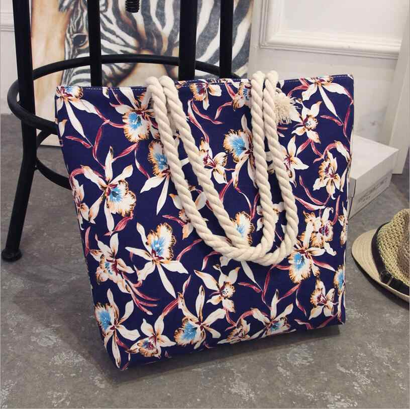 Модная сумка в стиле бохо, повседневная Холщовая Сумка в полоску, большие размеры, простая сумка-мессенджер с цветочным принтом, пляжная сумка на плечо