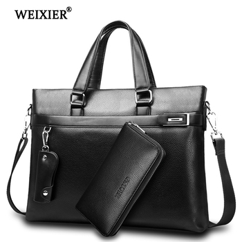 WEIXIER Brand Men Bag High Quality Classic PU Leather Man Briefcase Men's Business Handbag Messenger Bags Computer Laptop Bag