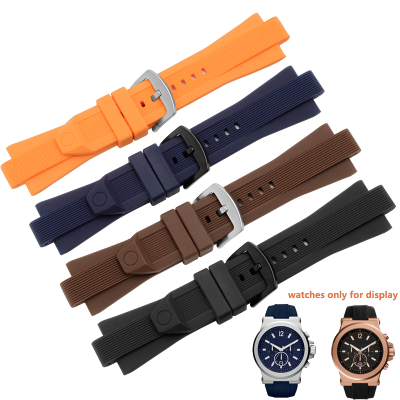 Port Silicone Watchbands 29*13mm Brown Waterproof Bracelet Men's Wristband Fit MK9020 MK9026 MK9019 Ruber Watch Accessories