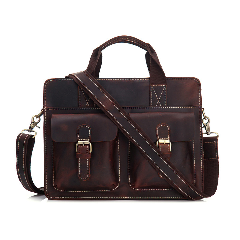 Nesitu Crazy Horse Cowhide Genuine Leather Men Business Briefcase Shoulder Messenger Bag Laptop Bag Brown Men Handbags  #MX004