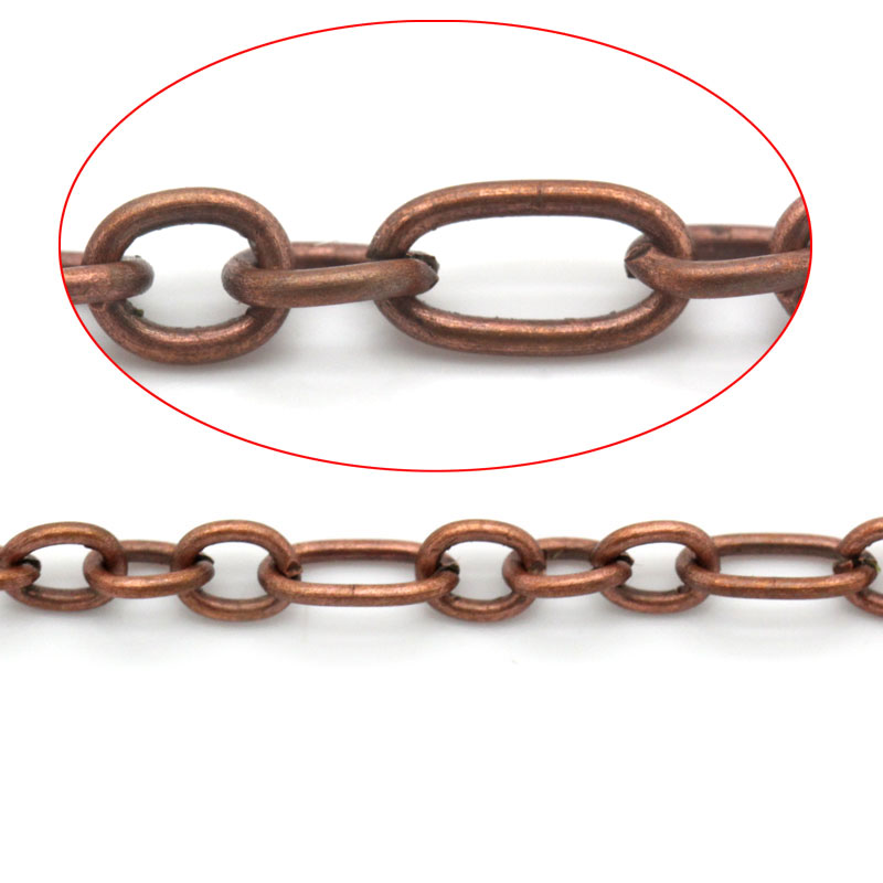 Doreen Box Lovely Link-Soldered Chains Findings Antique Copper 6.5x3.5mm(1/4
