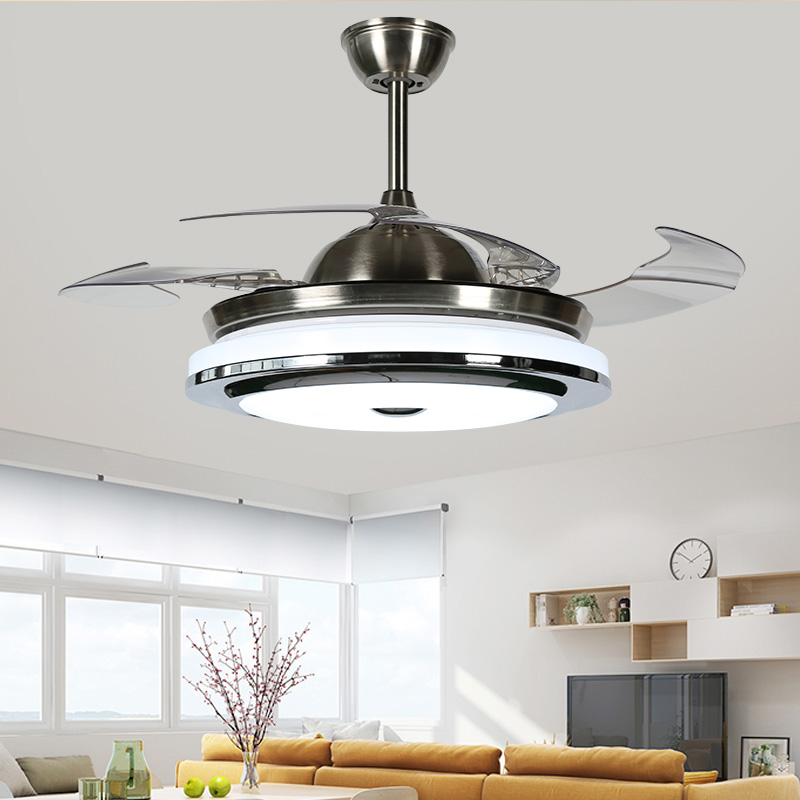 High Quality 3 Color Led Fan Lamp Changing Light Modern LED Invisible Ceiling Fan Light Remote Control Ceiling Lamp 110-240v