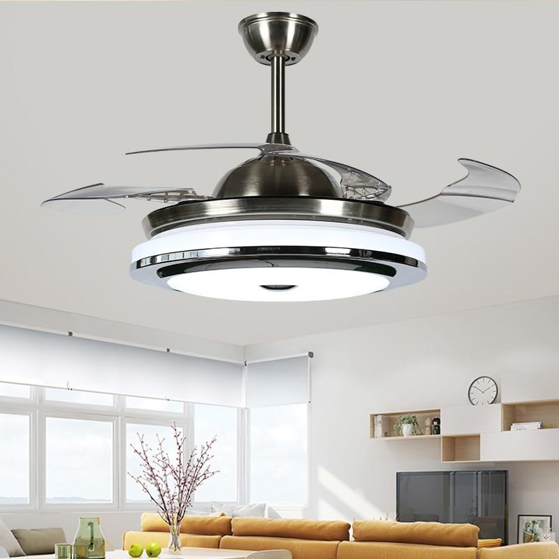 Yüksek kaliteli 3 renkli led fan lambası değişen ışık Modern LED görünmez ışıklı tavan fanı uzaktan kumanda tavan lambası 110-240v