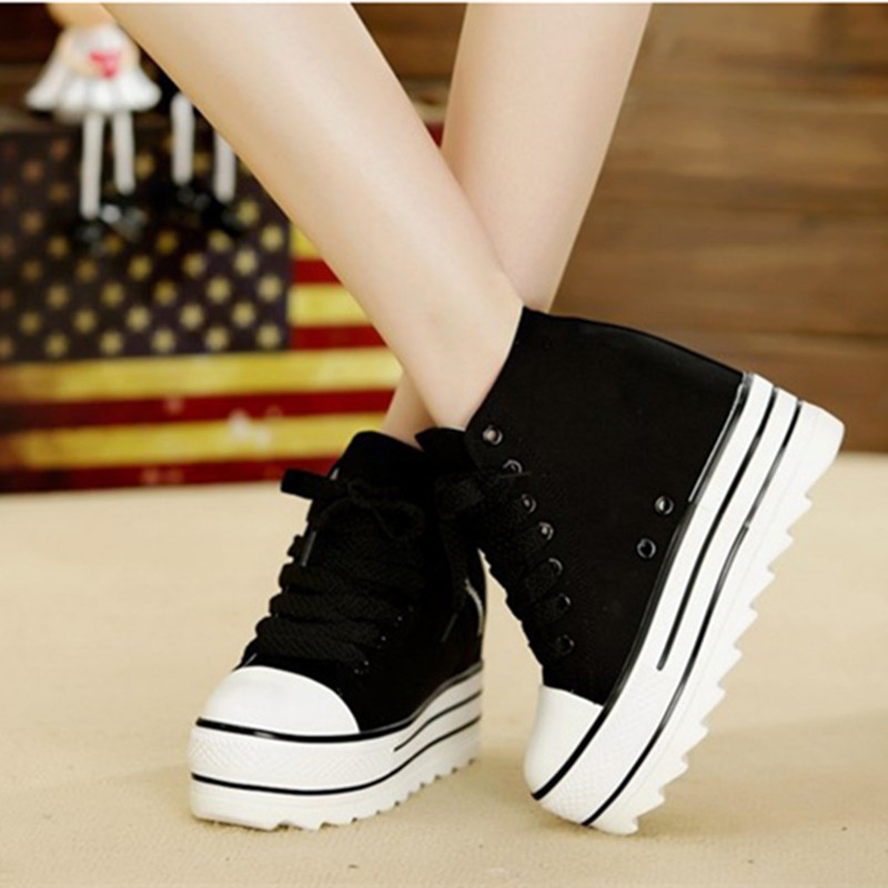 2018 New Fashion Womens High Heeled Platform Canvas Shoes Elevators White Black High Top Casual Woman Shoes with Zipper