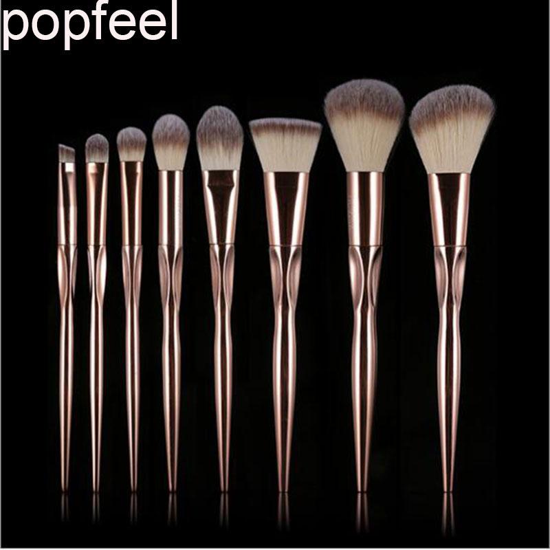 8 Pcs Rose Golden Metallic Contour Eyeshadow Professional Soft foundation make up brush for makeup brushes set professional bullet style cosmetic make up foundation soft brush golden white