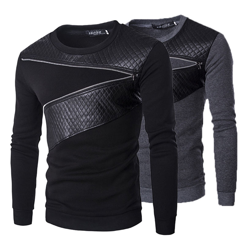 Mens Sweatshirts Fashion Leather Zipper Patchwork Slim Fit  O Neck Pullovers Tops Tracksuit For Male Coats Jacket Spring 2019