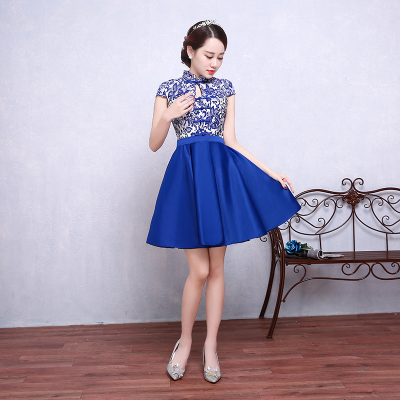 Summer Royal Blue Short Pleated Dress Chinese Style Satin Mandarin Collar Qipao Women Party Short Cheongsam