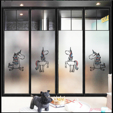 Window Glass stickers Frosted Cartoon unicorn frosted glass film bathroom nursery window partition door light opaque