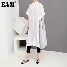 [EAM] 2019 New Spring Summer Lapel Half Sleeve White Mesh Split Joint Loose Big Size Long Shirt Women Blouse Fashion Tide JW989 [eam] 2018 new autumn lapel long sleeve white printed one pocket loose big size shirt women blouse fashion tide je63301