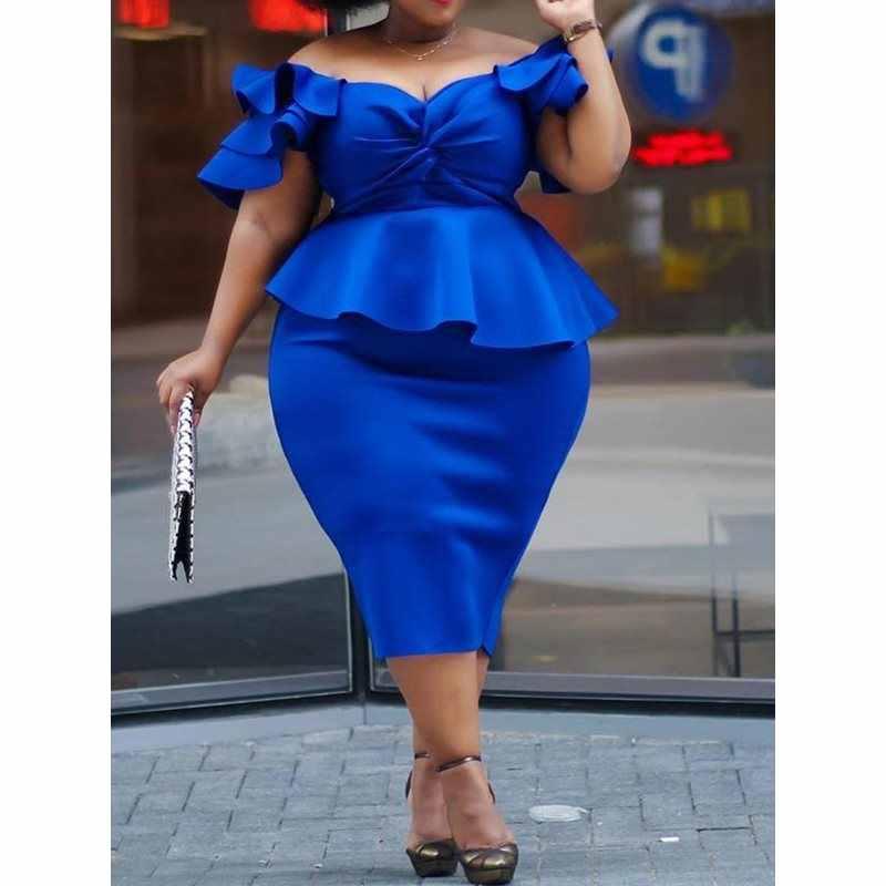 Plus Size Royal Blue 4XL 5XL Jurk voor Vrouwen Uit de Schouder Elegante Sexy Club Party Retro Ruches Bodycon Midi jurk Dames