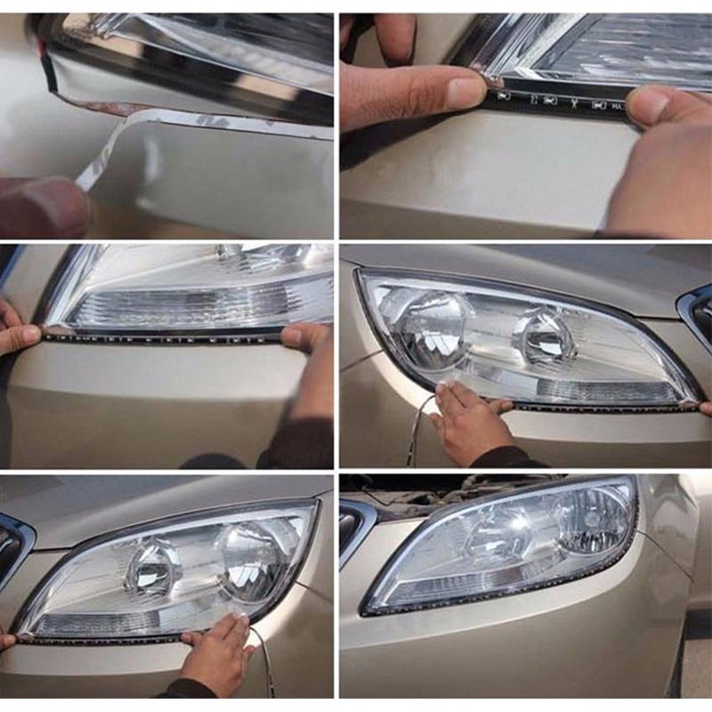 1 х 30 см автомобиля Светодиодные ленты светильник высокого Мощность 12V 15SMD автомобильные лампы дневного Водонепроницаемый светодиодный гибкий дневные ходовые огни светильник белого и синего цвета красного и зеленого цвета