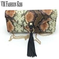 VM FASHION KISS Brand Ladies Package Snake Shoulder Bag Women Holding Chain Evening Bags Wedding Party Handbags Tour Festival